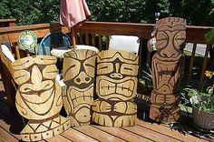 Trader-Joes-Original-Artwork-Tiki-Gods-Lot-of-5