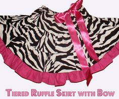 Great tiered ruffle skirt with bow. Can use the other tiered skirt pattern on our blog to pull this one off.