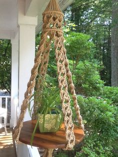 Macrame hanging table in jute colored 6 mm by KnotsAndNeedle