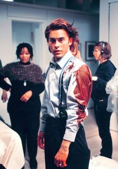 Jared Leto on the set of American Psycho (2000).