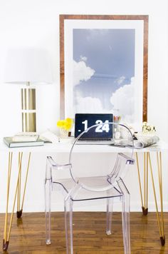 Upgrade an Ikea desk with gold hairpin legs. | 27 DIYs For The Classiest Person…