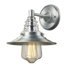 Insulator Glass 1 Light Outdoor Sconce In Brushed Aluminum by Elk Lighting Group
