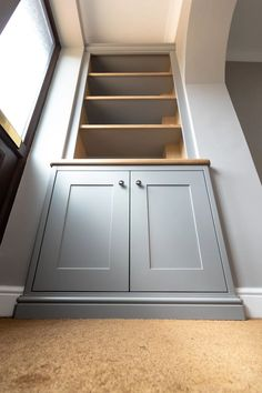 Grey alcove cabinets with oak details. Fitted by TW Bespoke in Burton upon Trent, Staffordshire. Alcove Storage Living Room, Built In Shelves Living Room, Living Room Wall Units, Living Room Cabinets, Home Living Room, Living Room Decor, Cottage Living, Bathroom Storage, Dining Room
