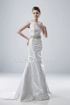 Bateau Beading Mermaid Wedding Dresses Court Train Embroidery