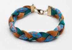 braided fabric bracelet with ribbon crimp