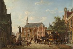 Pieter Cornelis Dommersen (Dutch, 1834-1908)  The town hall and market place, Haarlem. Oil on canvas, 47,5 x 69 cm.
