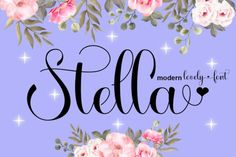 Stella is beautiful and lovely script font with many alternative styles, ligatures, swash and multilingual glyphs. This font is PUA... Pretty Fonts, Beautiful Fonts, Commercial Fonts, Popular Crafts, All Fonts, Handwritten Fonts, Script Fonts, Free Fonts Download, Premium Fonts