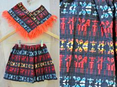 Poncho & Skirt SET Embroidered Skirt Fringed by ItaLaVintage