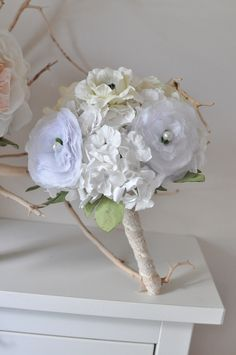 Bridesmaid bouquet, paper flower bridesmaid bouquet, wedding flowers, flower bouquet, paper flower bouquet. $80.00, via Etsy.