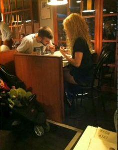 "Shakira, Pique and Milan eating ""Crep nova"" in Barcelona"