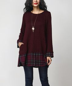 Love this Burgundy Cable-Knit & Plaid-Hem Tunic on #zulily! #zulilyfinds
