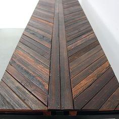 reclaimed wood table from coney island boardwalk