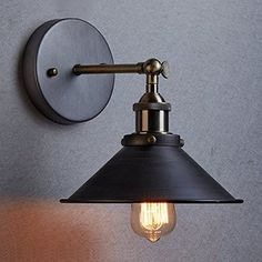 Retro vintage Industrial Edison Simplicity 1 Light Wall Mount Light Sconces Aged Steel Finished Antique lamp with bulb Plug In Wall Sconce, Swing Arm Wall Sconce, Wall Mounted Light, Wall Sconce Lighting, Wall Sconces, Wall Lamps, Industrial Wall Lights, Vintage Wall Lights, Industrial Wallpaper