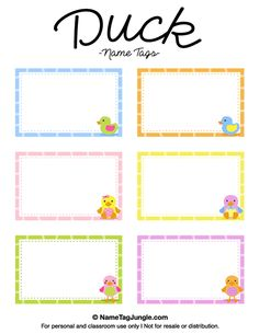 Free Printable Duck Name Tags The Template Can Also Be Used For Creating Items Like