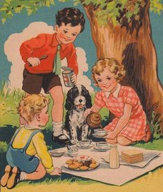 Vintage children's book illustration...going on a picnic.