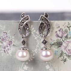 Freshwater Pearl Marcasite Drop Earrings