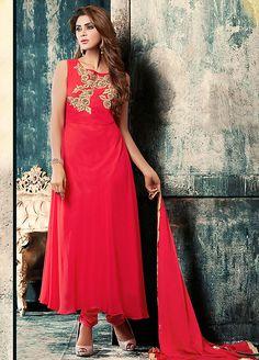 Plush Red Anarkali Suit