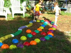 fun with balance beam and stepping domes - also messy sensory play