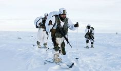 Paratroopers with U. Army Alaska's Infantry Brigade Combat Team (Airborne), Infantry Division ski across the drop zone during Exercise Spartan Pegasus in Deadhorse, Alaska. Army Police, Us Army, Coast Gaurd, Green Beret, Paratrooper, United States Army, Us Air Force, Aviation Art, Linkin Park