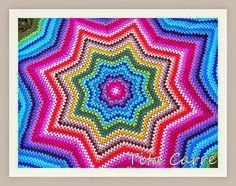 Colcha Estrela Colorida em Crochet (Blanket Crochet Star)