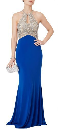 Sparkly rhinestone and royal blue evening or prom dress to hire or buy
