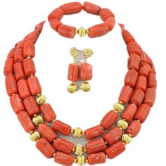 Wiipu African Coral Beads Jewelry Set Wedding Gift,statement Necklace(gs570) >>> For more information, visit image link.-It is an affiliate link to Amazon. #Necklace