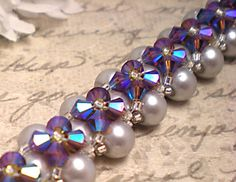 The Madison Woven Gray Swarovski Pearl and Topaz Swarovski Crystal Bracelet by NiteDreamerDesigns