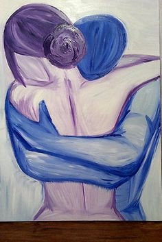 """Love Beyond Words"" Abstract Acrylic Painting of A Couple Embracing 