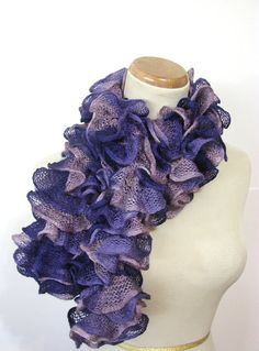 Purple Ruffle Hand Knit Scarf by ArlenesBoutique on Etsy, $37.00
