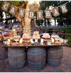 Wedding Candy Table, Wedding Snacks, Wedding Desserts, Candy Bar For Wedding, Rustic Wedding Bar, Wedding Vintage, Dessert Ideas For Wedding, Wedding Desert Bar, Western Wedding Centerpieces