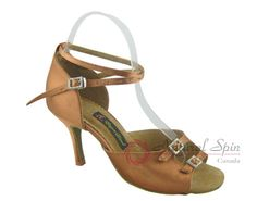 Natural Spin Signature Latin Shoes(Open Toe, Adjustable):  H1113-01_DrTanES