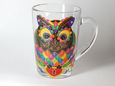 Owl Coffee Mug Hand Painted Colorful Mug Mosaic Cup   This beauty hand painted mosaic owl will decorate your tea/coffee drinking.  This owl