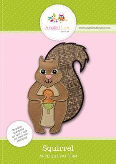 Squirrel applique pattern PDF download. Squirrel applique template.