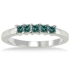 10k White Gold 1/2ct TDW Princess Blue Diamond Wedding Band