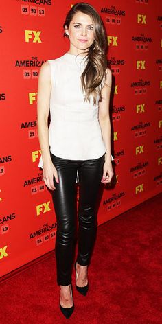 "Keri Russell in Alexander McQueen top, Alexander McQueen leather pants, and Manolo Blahnik pumps (""The Americans"" premiere: JAN 2013)"