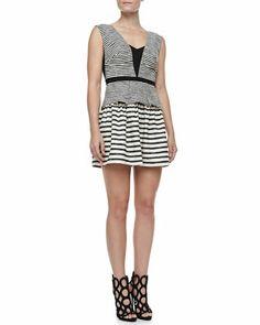 Piper Stripe Sleeveless Peplum Dress, Black/White by BCBGMAXAZRIA at Neiman Marcus.