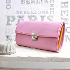 long leather wallet rosé