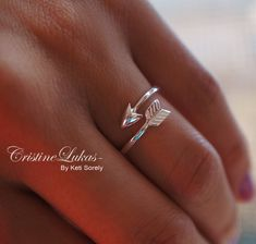 Celebrity Style Sideways Arrow Ring - By Pass Arrow - Double Wrap Ring -Sterling Silver on Etsy, $15.00