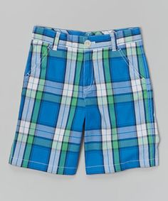 Blue Ray Plaid Shorts - Infant, Toddler & Boys by E-Land Kids #zulilyfinds