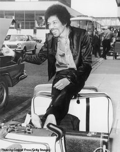 Jimi Hendrix at the airport, London, 1970