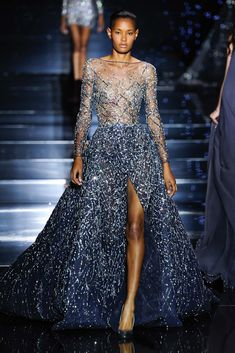 Shimmering couture Zuhair Murad princesses in detailed gowns and the occasional detailed jumpsuit. See the Zuhair Murad Haute Couture F/W 2015 show below: Look Fashion, Runway Fashion, Fashion Show, Paris Fashion, Fashion Art, Fashion Ideas, Fashion 2015, Fashion Quotes, Fashion Black