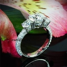 2-40-ct-Fiery-Near-White-Moissanite-3-Stone-Art-Deco-Engagement-925-Silver-Ring