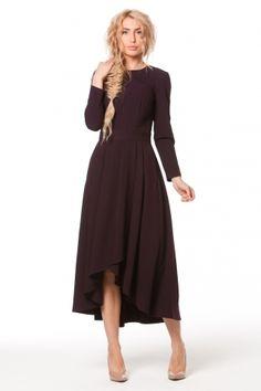 0985 Платье черничное костюмка юбка разной длины на запах