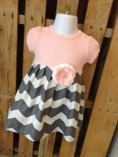 Baby pink top with grey chevron infant dress by leoandlyla on Etsy, $28.00