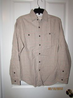 Men's Barque 100% Flannel Cotton Casual Plaid Button Down [Tan,Medium] #Barque #ButtonFront