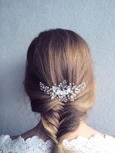 Bridal Hair Comb with Swarovski Pearls Bridal by EoliBridal