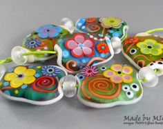 Smiling Happy Flowers - Art Glass Set by Michou P. Anderson