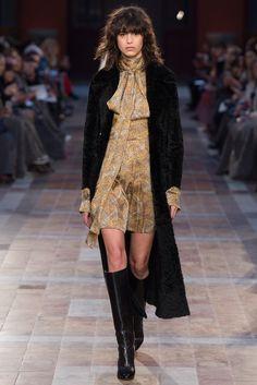 duster coat over silk mini and knee boots. fall 16. Sonia Rykiel, Look #32