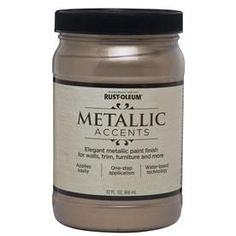 Rust-Oleum Metallic Accents Ready Mix Gloss Champagne Metallic Metallic Interior Paint (Actual Net Contents: oz) at Lowe's. Rust-Oleum Metallic Accents is an advanced water based paint infused with real mica beads that provides a rich metallic finish. Paint Furniture, Furniture Makeover, Metallic Painted Furniture, Rustoleum Metallic, Pewter Metal, Interior Paint, Diy Home Decor, At Least, Home Improvement
