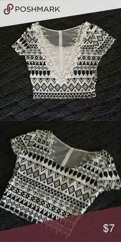 DELETING TONIGHT Aztec lacy crop top Lace along the back. Short. Black and white aztec design. PacSun Tops Crop Tops